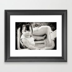 baby in wagon Framed Art Print