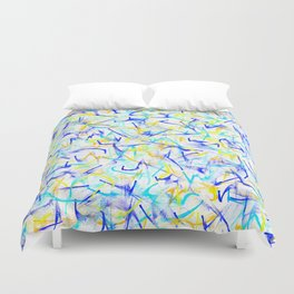 Electric Yellow Lightning & Neon Blue Line Abstract Duvet Cover