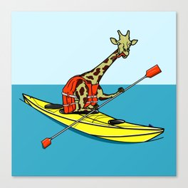 Giraffe Sea Kayaking Canvas Print