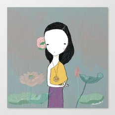 Girl with water lilies Canvas Print
