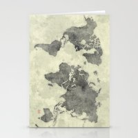 vintage map Stationery Cards featuring World Map Black Vintage by City Art Posters