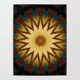 Brushed Gold Burgundy Blue Star Mandala Poster