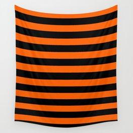 Black & Orange Stripes Wall Tapestry