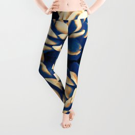 Golden & blue succulents Leggings