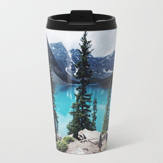 Lake Moraine Alberta Metal Travel Mug