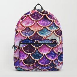 Pink & Purple Trendy Glitter Mermaid Scales Backpack