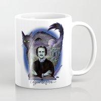 edgar allen poe Mugs featuring Edgar Allan Poe Gothic by Scott Jackson Monsterman Graphic