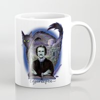 edgar allan poe Mugs featuring Edgar Allan Poe Gothic by Scott Jackson Monsterman Graphic