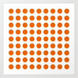 Trendy orange and white polka dots pattern Art Print