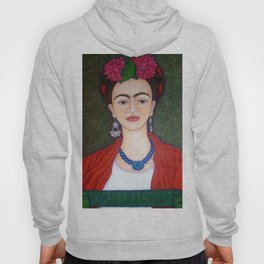 Frida portrait with dalias Hoody