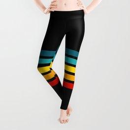 Colorful Trendy Lines Black III Leggings