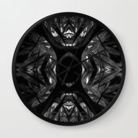 black widow Wall Clocks featuring Black Widow by SwanniePhotoArt