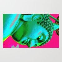 buddah Area & Throw Rugs featuring Buddah Head 05; Pink Dachori by Kether Carolus