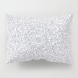 Most Detailed Mandala! Cool Gray White Color Intricate Detail Ethnic Mandalas Zentangle Maze Pattern Pillow Sham