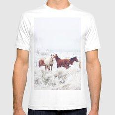Winter Horseland White Mens Fitted Tee MEDIUM