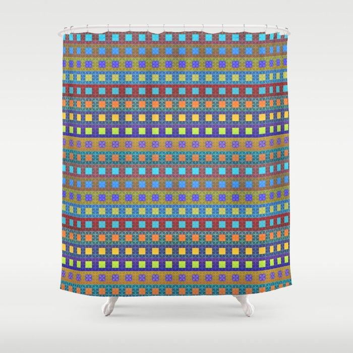 Retro Colors Geometric Stripes Shower Curtain