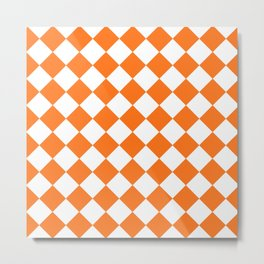 Rhombus Texture (Orange & White) Metal Print