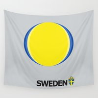sweden Wall Tapestries featuring Sweden National Team by Earl of Grey