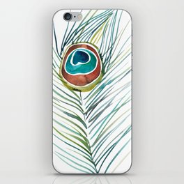 Peacock Tail Feather – Watercolor iPhone Skin