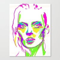 kate moss Canvas Prints featuring Kate Moss by Simon Falk