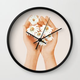 Hands Holding Flowers Wall Clock