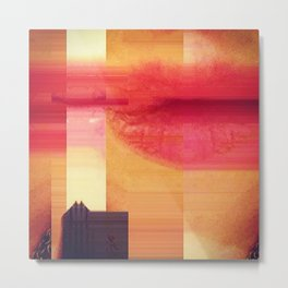 Sunset Barn Glitch Metal Print