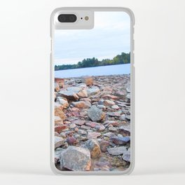 Rocks on the lake Clear iPhone Case
