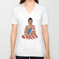 obama V-neck T-shirts featuring Buddha Obama by Jack Coltman