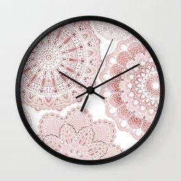 Mandala on Pink Wall Clock