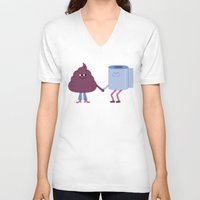 toilet V-neck T-shirts featuring SBF: Poop & Toilet Paper by Mauro Gatti