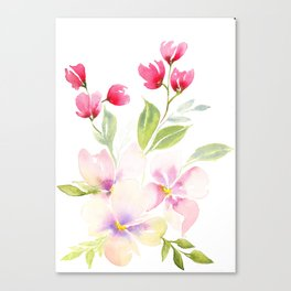 Loose watercolour flowers Canvas Print