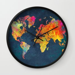 World Map blue #world #map Wall Clock