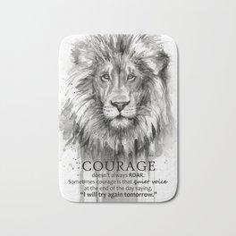 Lion Courage Motivational Quote Watercolor Painting Bath Mat