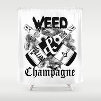 weed Shower Curtains featuring WEED & Champagne  by BranVille