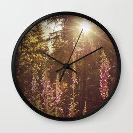 A New Day Wildflowers at Dawn - Nature Photography Wall Clock