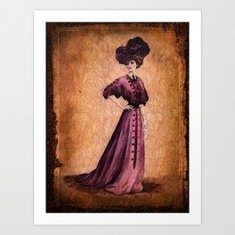 Girl in purple dress, Edwardian style Art Print