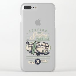 Surfing Paradise Vintage Surf 1956 Clear iPhone Case