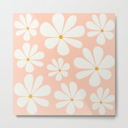 Floral Daisy Pattern - Peach Pink Metal Print