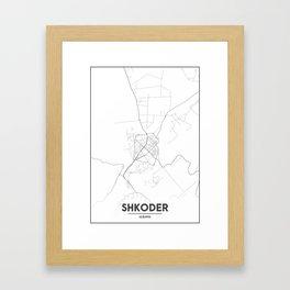 Minimal City Maps - Map Of Shkoder, Albania. Framed Art Print