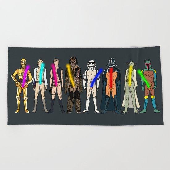 Naughty Lightsabers Beach Towel