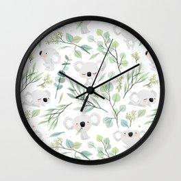 Koala and Eucalyptus Pattern Wall Clock