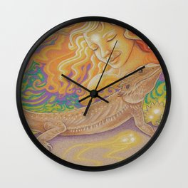 Sun And Dragon, Bearded Dragon Art Wall Clock