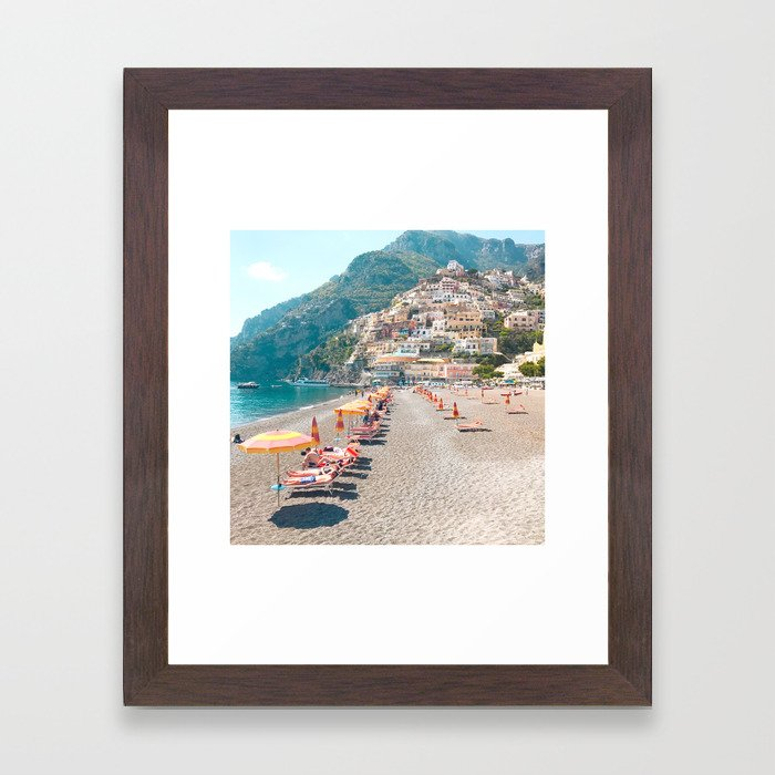 perfect beach day - Positano, Italy Framed Art Print