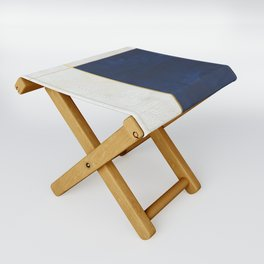 Orange, Blue And White With Golden Lines Abstract Painting Folding Stool