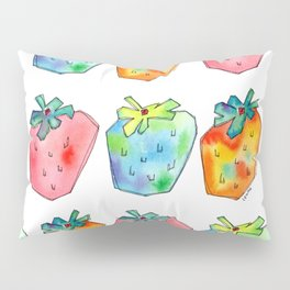 Difference Is Not Wrong watercolor painting strawberry illustration fruits nursery kitchen Pillow Sham