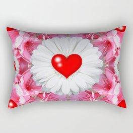 Red Hearts & White Floral Art Rectangular Pillow