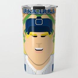 Baseball Blue Pinstripes - Deuce Crackerjack - Hazel version Travel Mug
