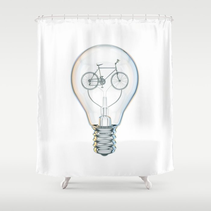 Light Bicycle Bulb Shower Curtain