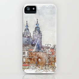 Aquarelle sketch art. Historic building in town iPhone Case