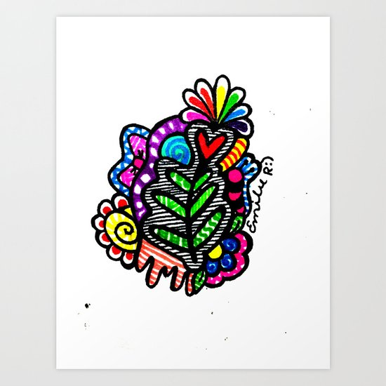 Rainbow Doodle Art Print